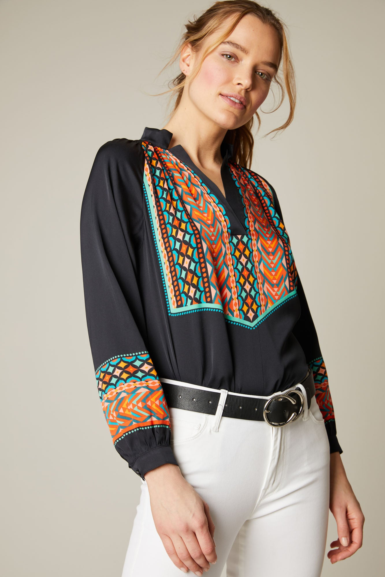 The Long Sleeve Polo Blouse | Moroccan Embroidery