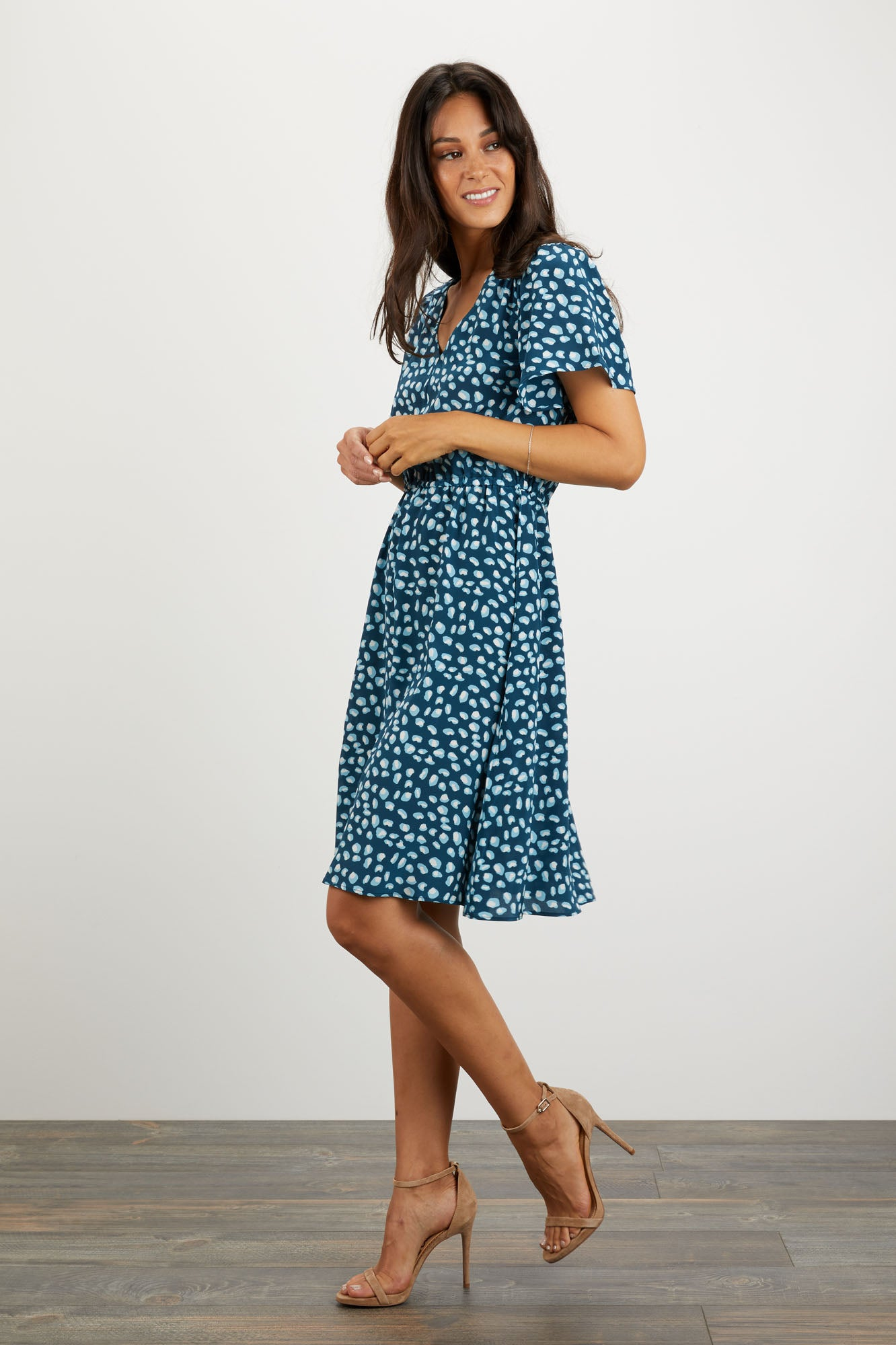 Chelsea Dress | Navy Animal Spot