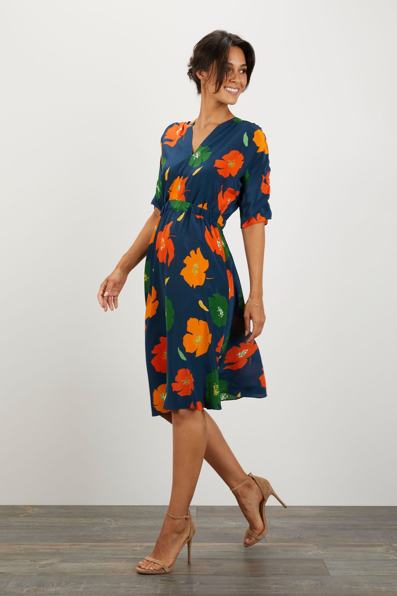 The Market Dress | Navy Poppies