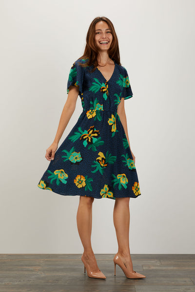 Chelsea Dress | Navy Spotted Lily