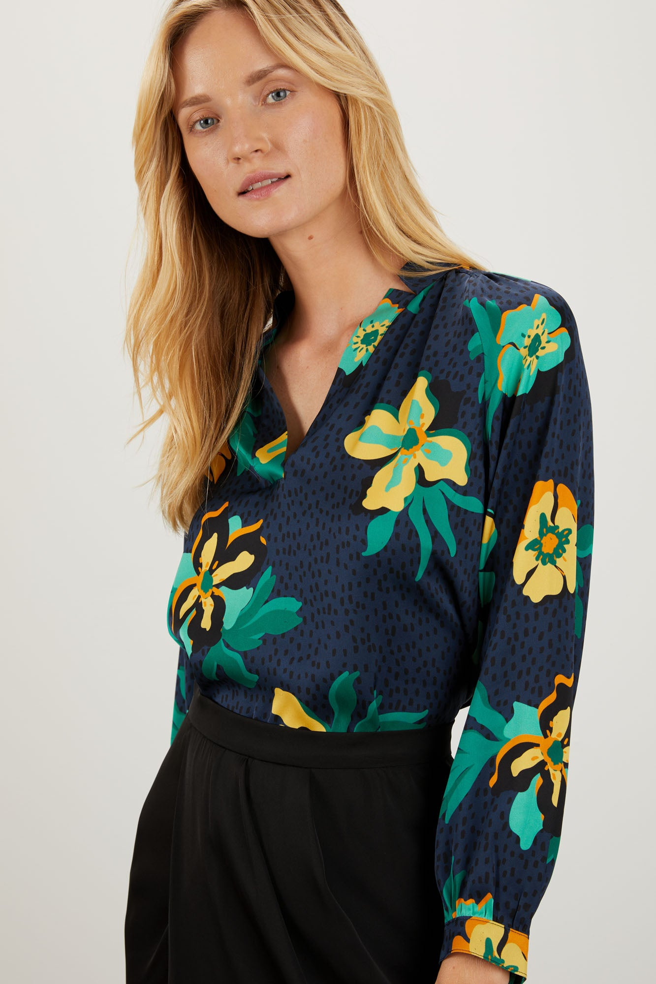 The Long Sleeve Polo Blouse | Navy Spotted Lily