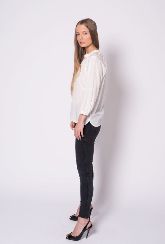 The Combo Classic Blouse | White Silk Cotton