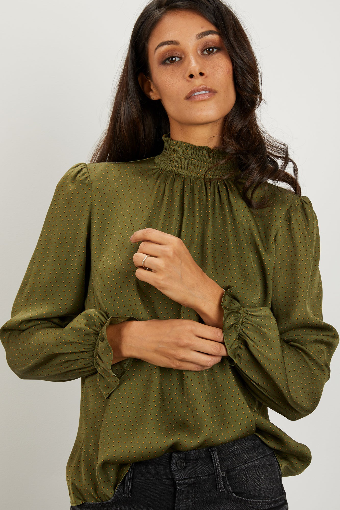Stella Top | Dot Olive