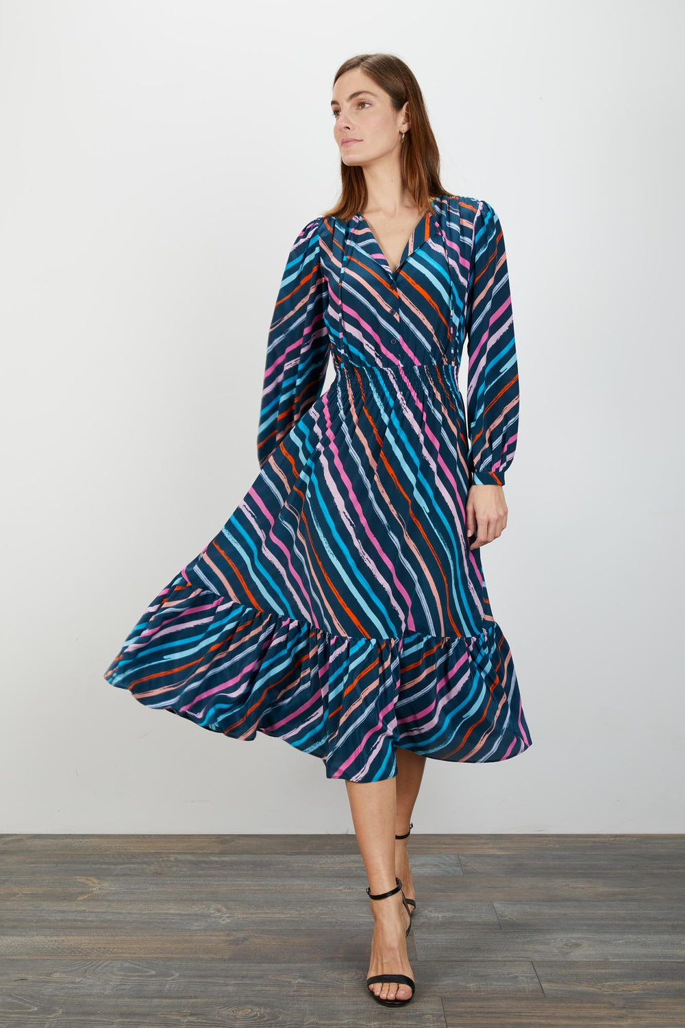 Juliette Dress | Painted Navy Stripe