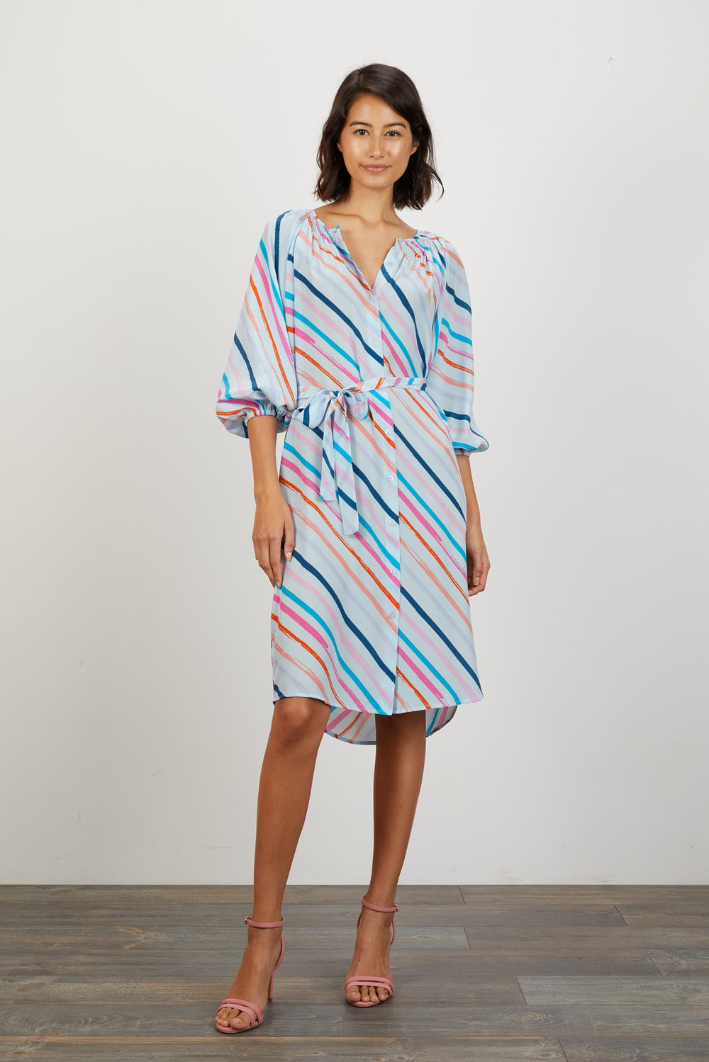 The Classic Knee Length Dress | Painterly Cloud Stripe