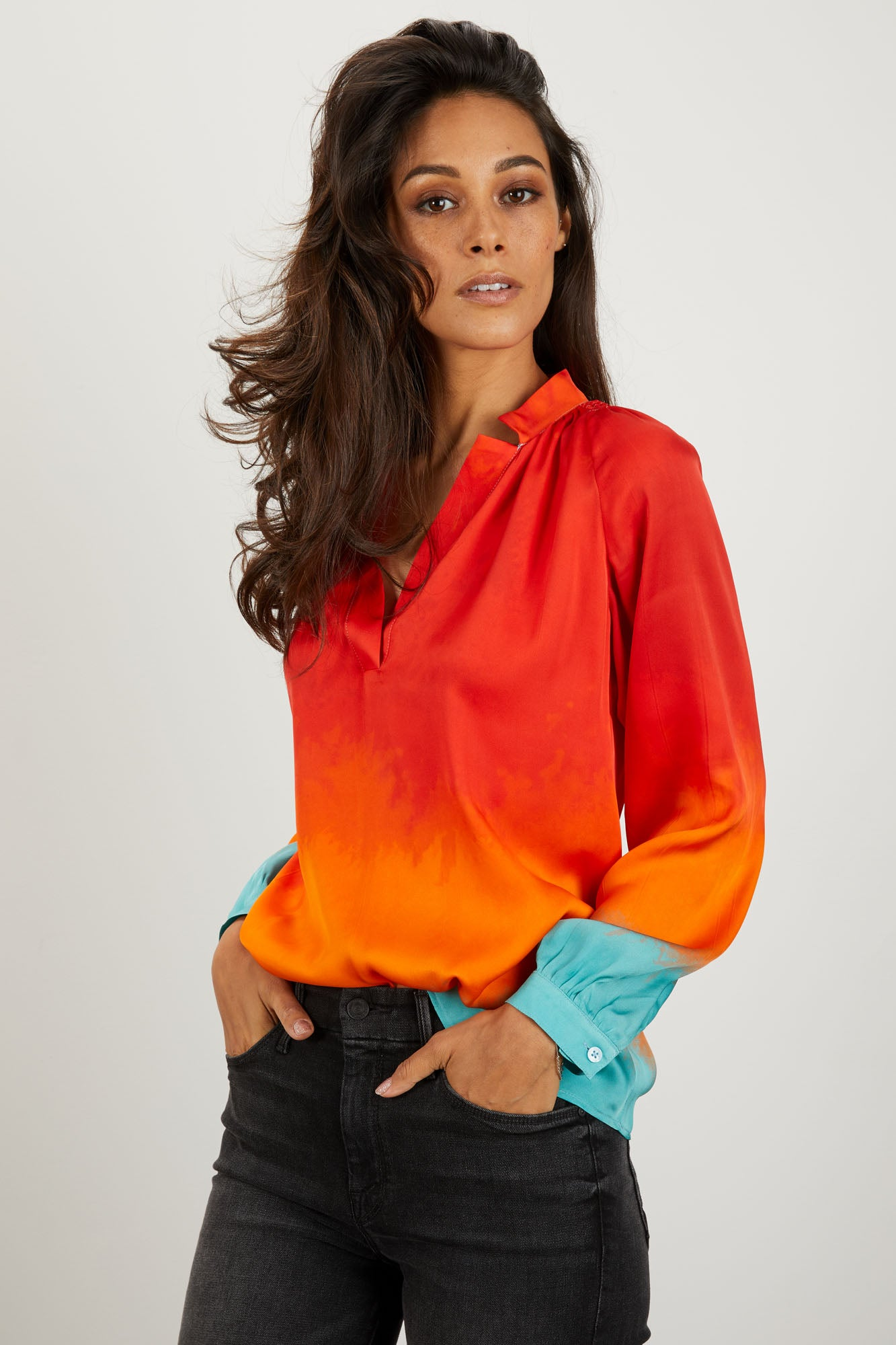 free delivery excellent quality limited quantity The Long Sleeve Polo Blouse | Prairie Sunset