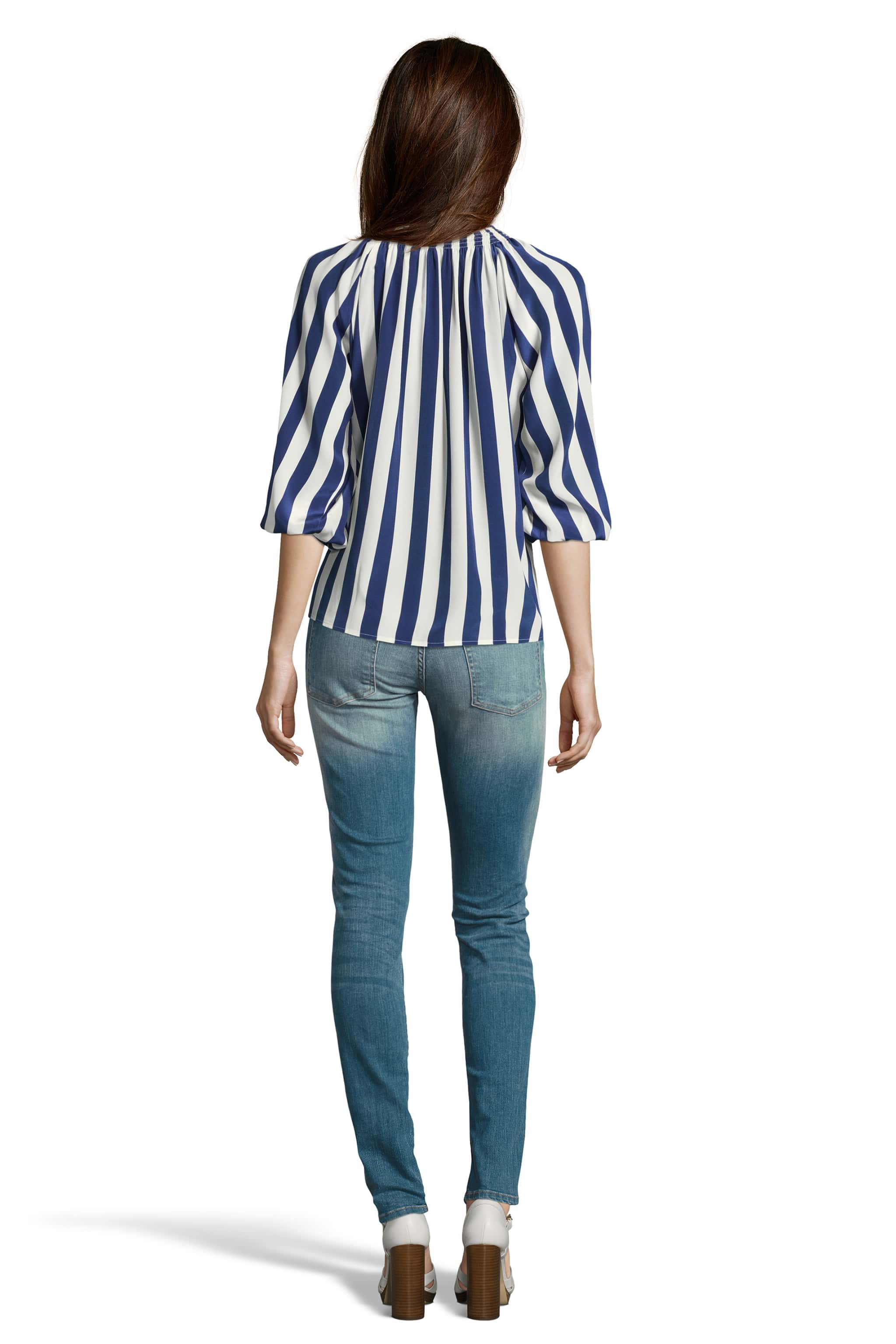 The Classic Blouse | Navy Stripe