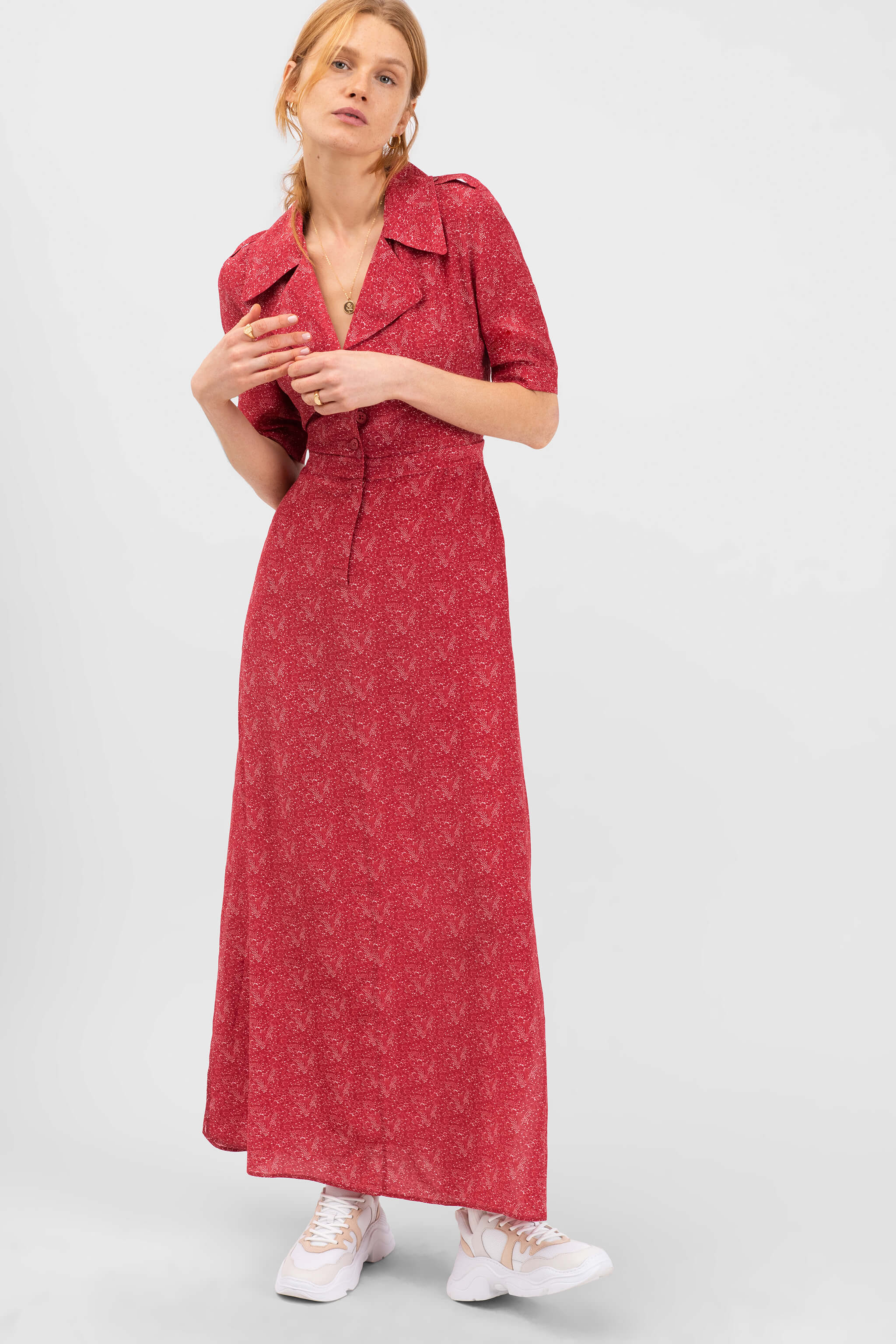 The Trench Dress | Terracotta Vine Floral