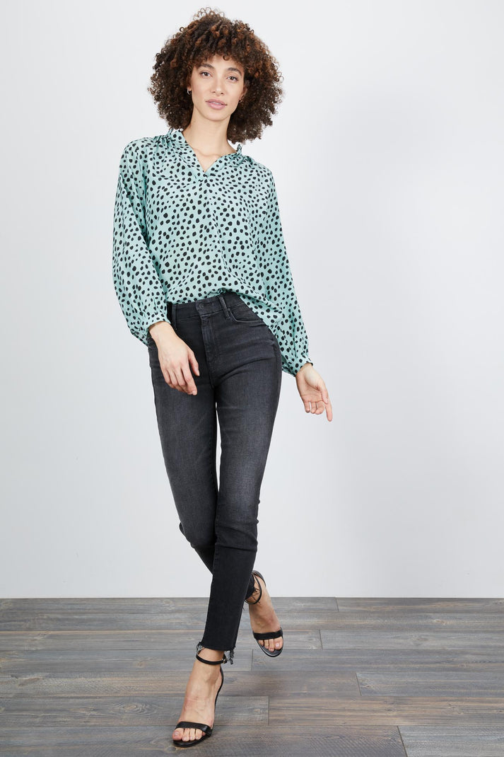 The Long Sleeve Polo Blouse | Water Dot