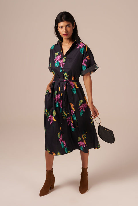 Safari Shirtdress | Fuchsia Lush Blooms