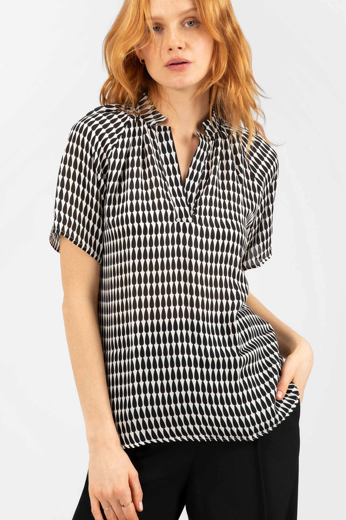 The Short Sleeve Polo Blouse | Black Teardrop
