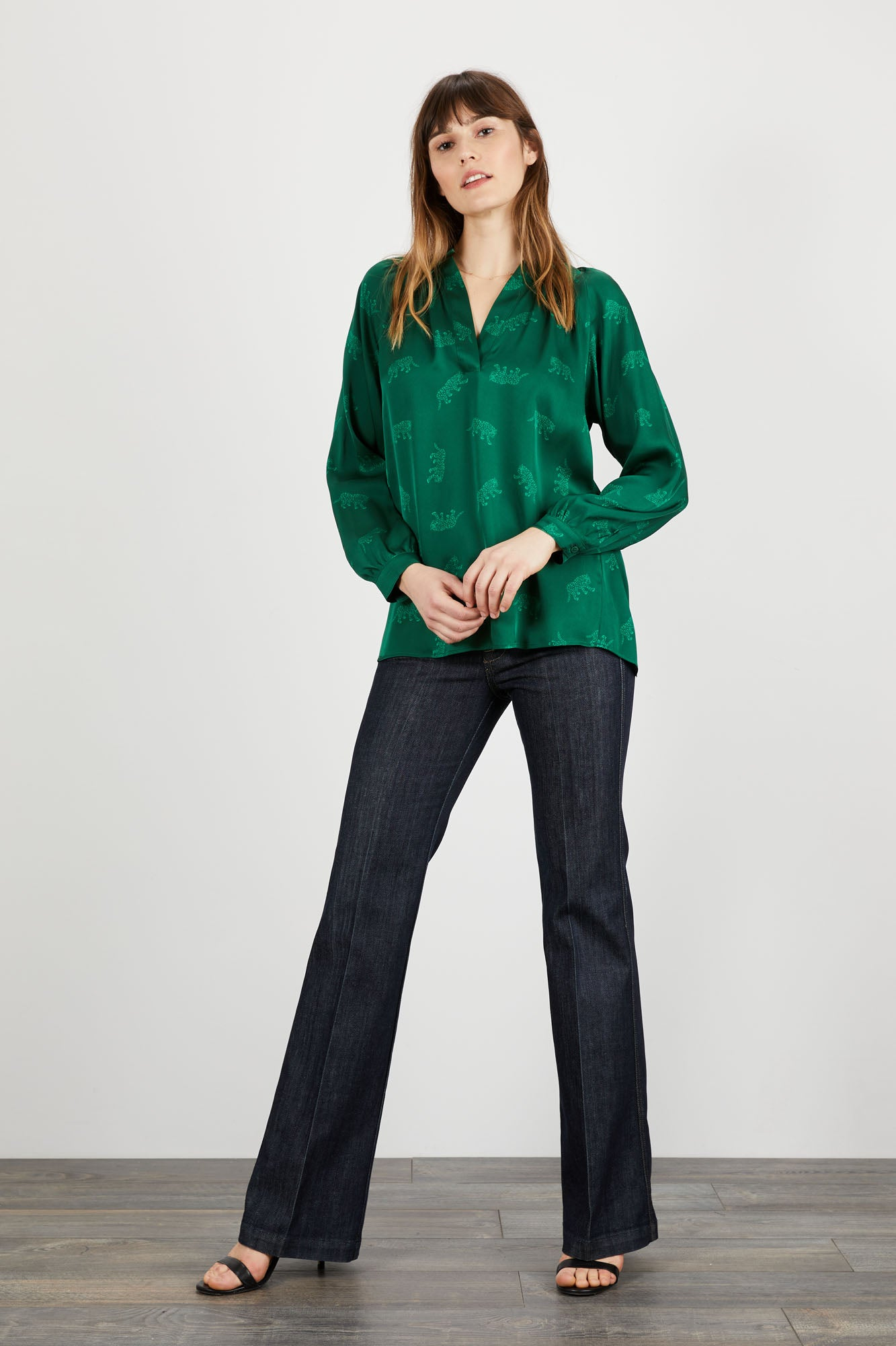 The Long Sleeve Polo Blouse | Emerald Leopards