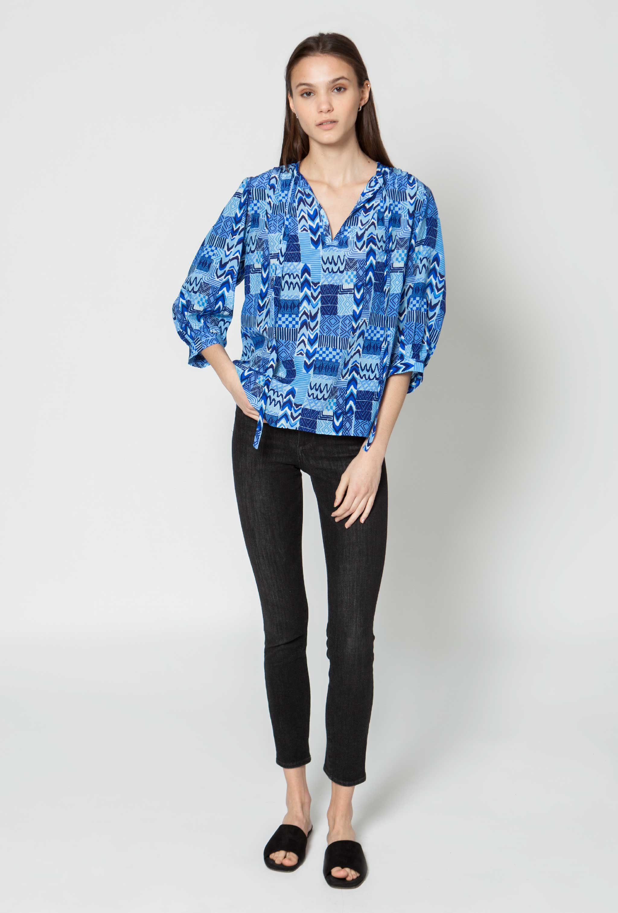 The Tassel Blouse | Aqua Wave