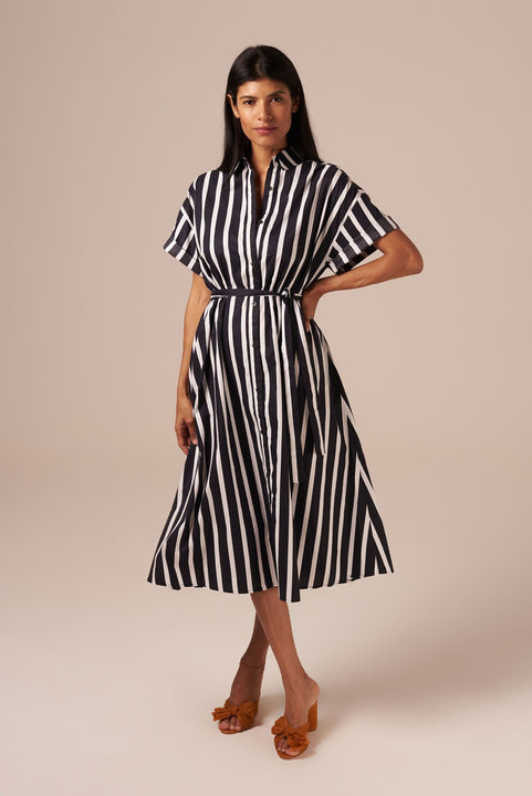 Safari Shirtdress | Black Stripe