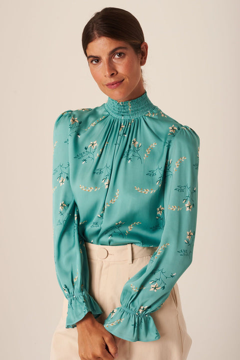 Stella Top | Aqua Wildflowers