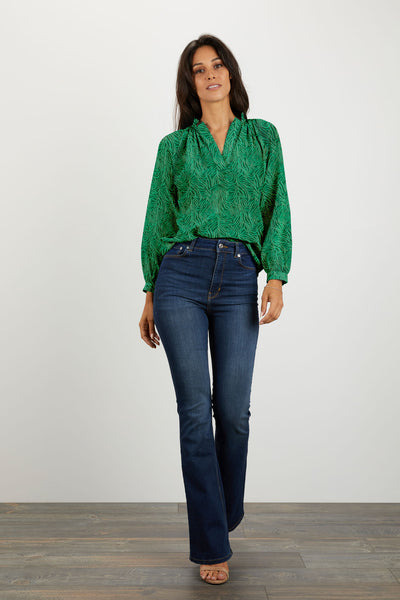 The Long Sleeve Polo Blouse | Emerald Labyrinth