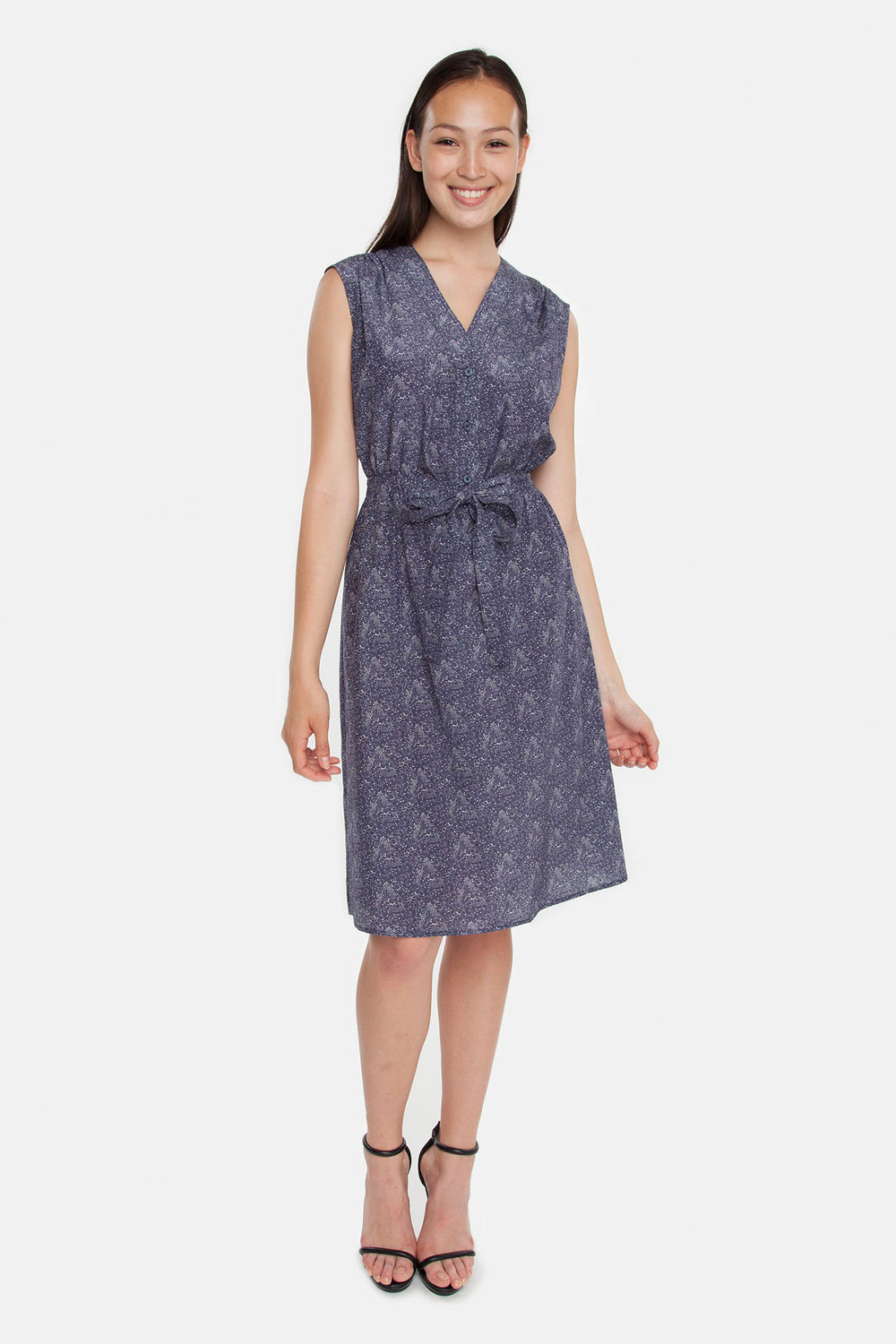 The Sleeveless Tie Waist Dress | Navy Vine Floral
