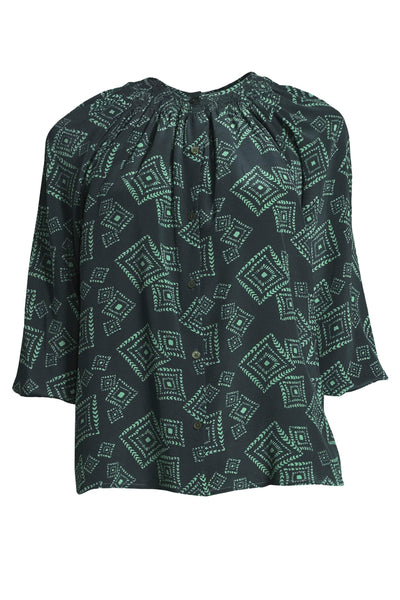 The Classic Blouse | Green Tonal Diamond