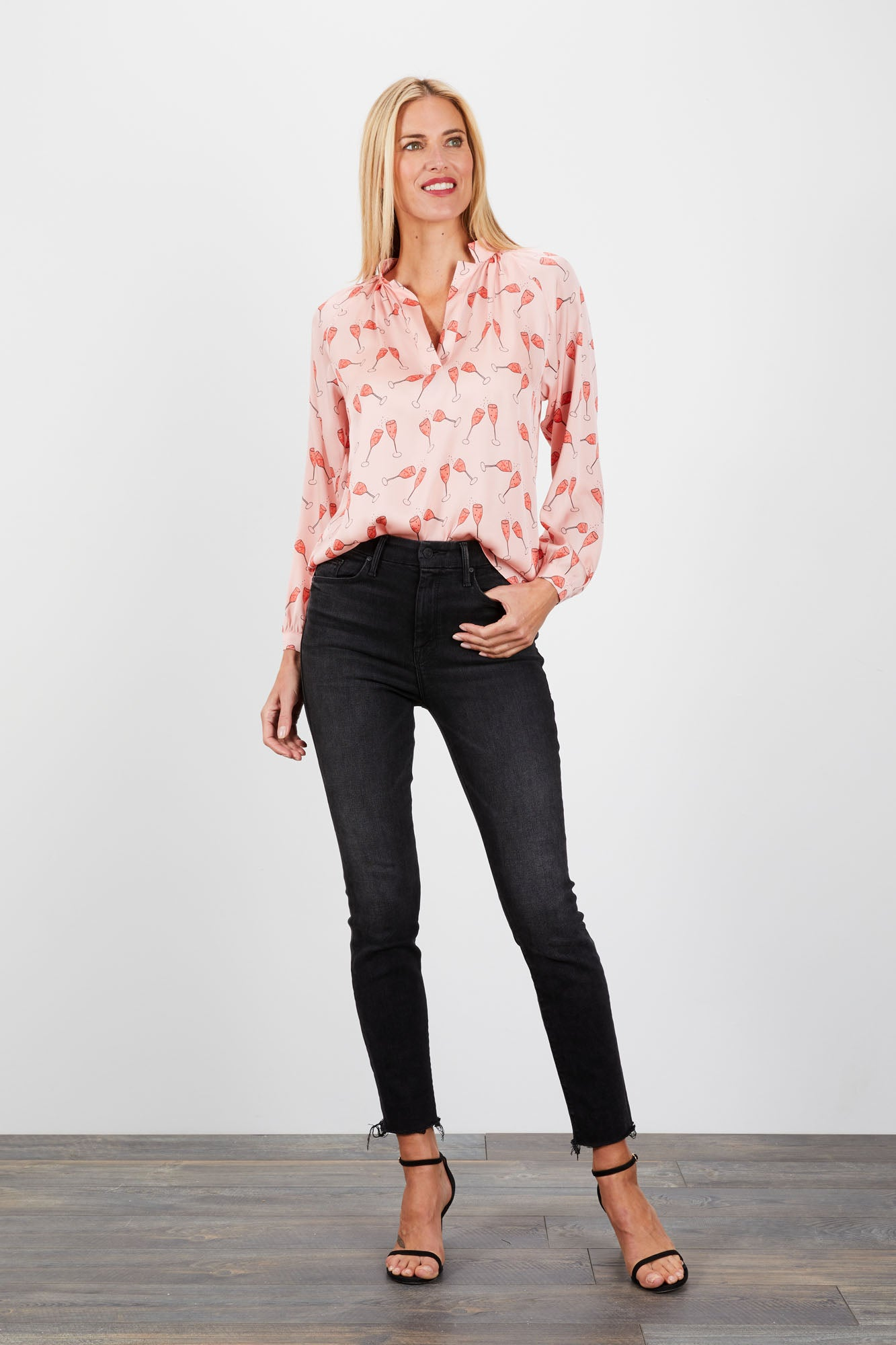 The Long Sleeve Polo Blouse | Strawberry Rosé