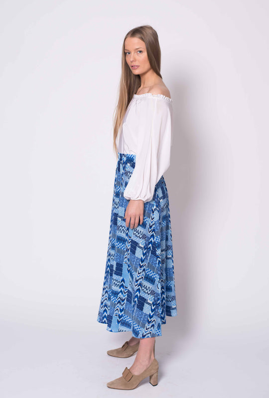 The Maxi Skirt | Aqua Wave