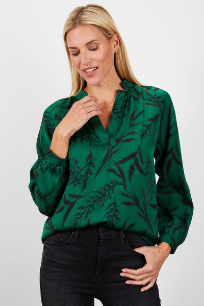 The Long Sleeve Polo Blouse | Emerald Pine