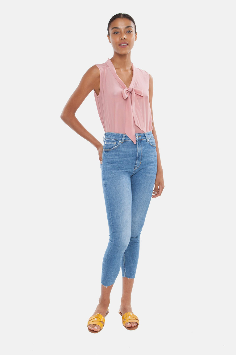 The Sleeveless Tie Front Blouse | Parisian Pink