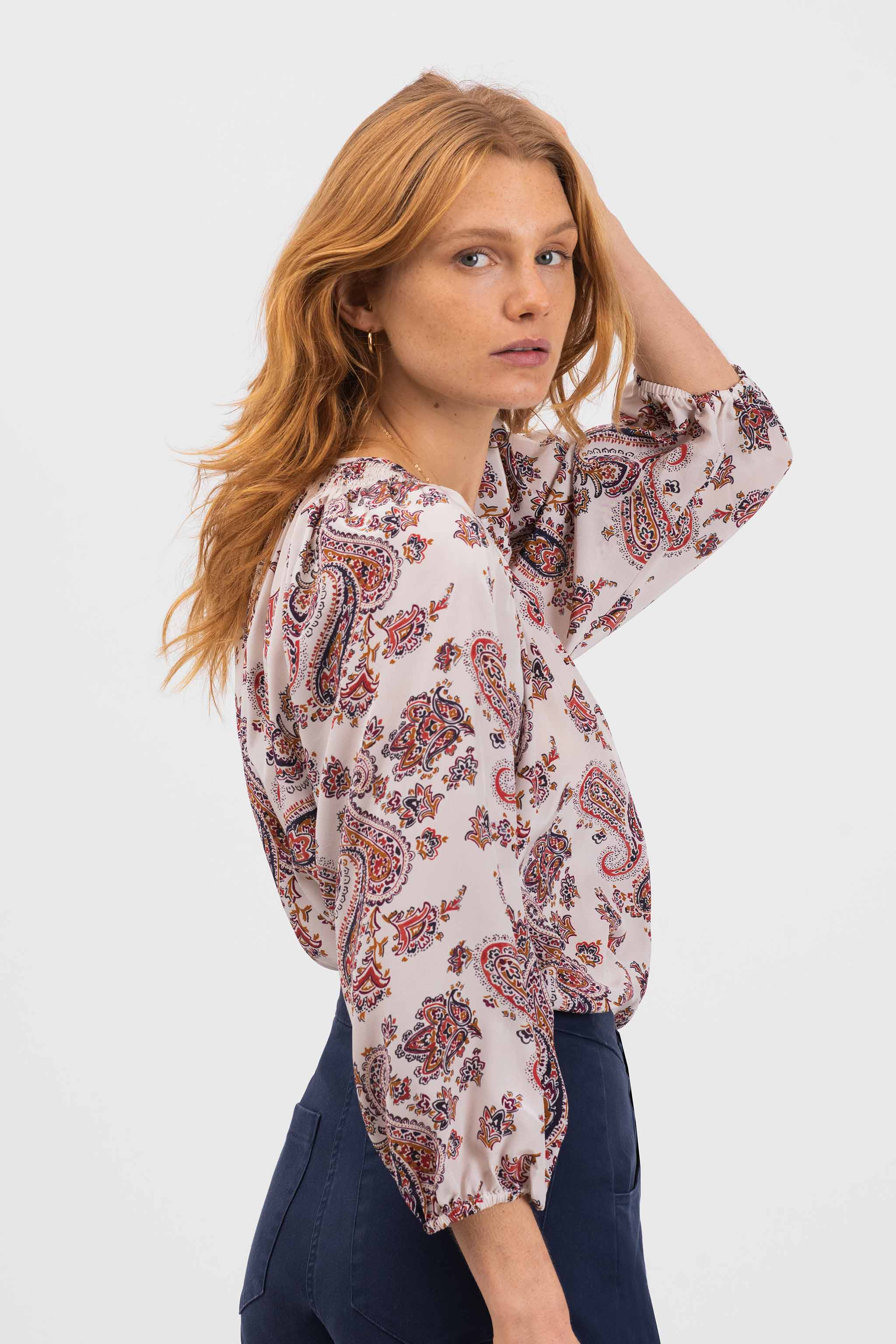 The Classic Blouse | Ivory Paisley