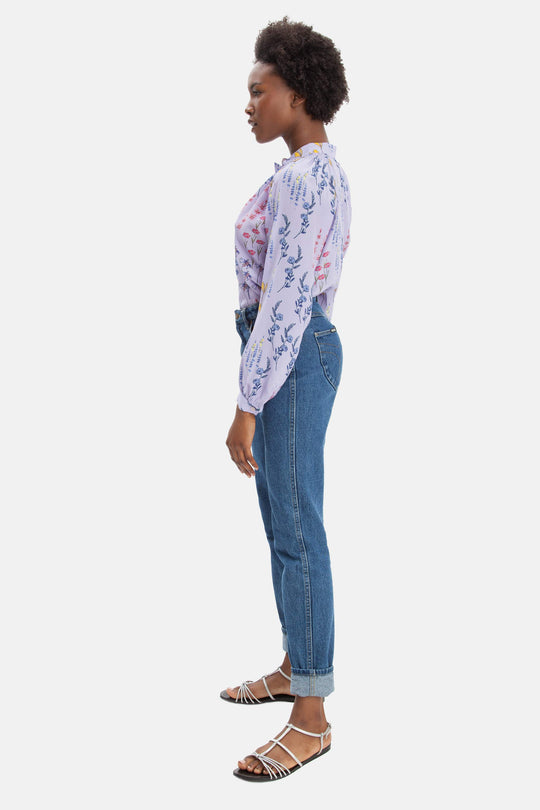The Long Sleeve Polo Blouse | Lavender Fields