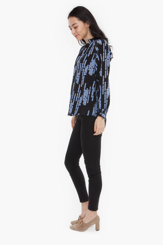 The Long Sleeve Polo Blouse | Midnight Chandelier