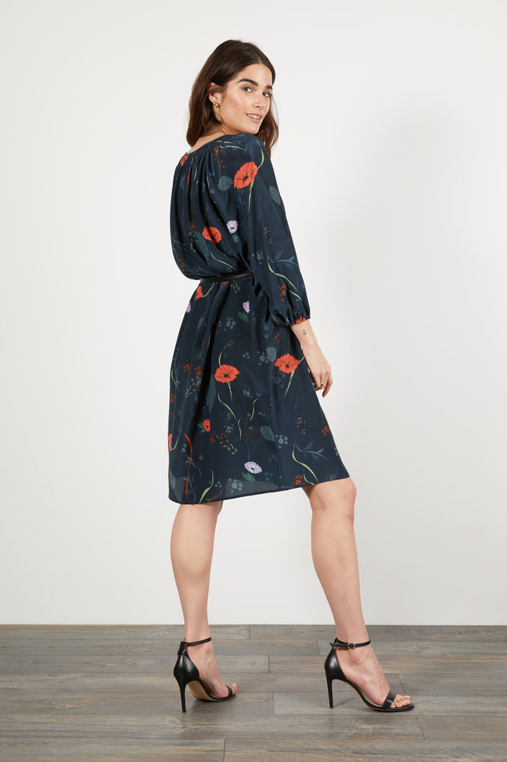 The Classic Knee Length Dress | Midnight Floral