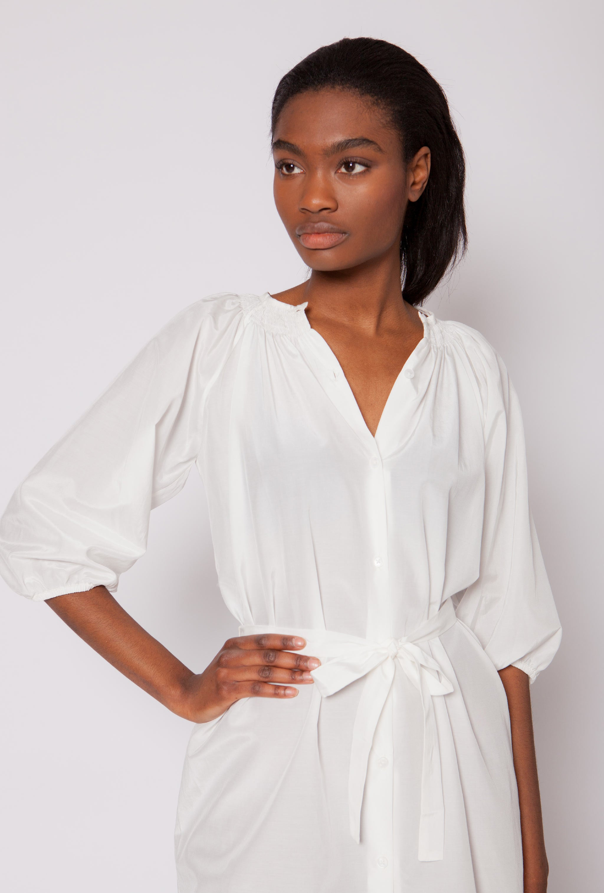The Classic Mini Dress | White Silk Cotton