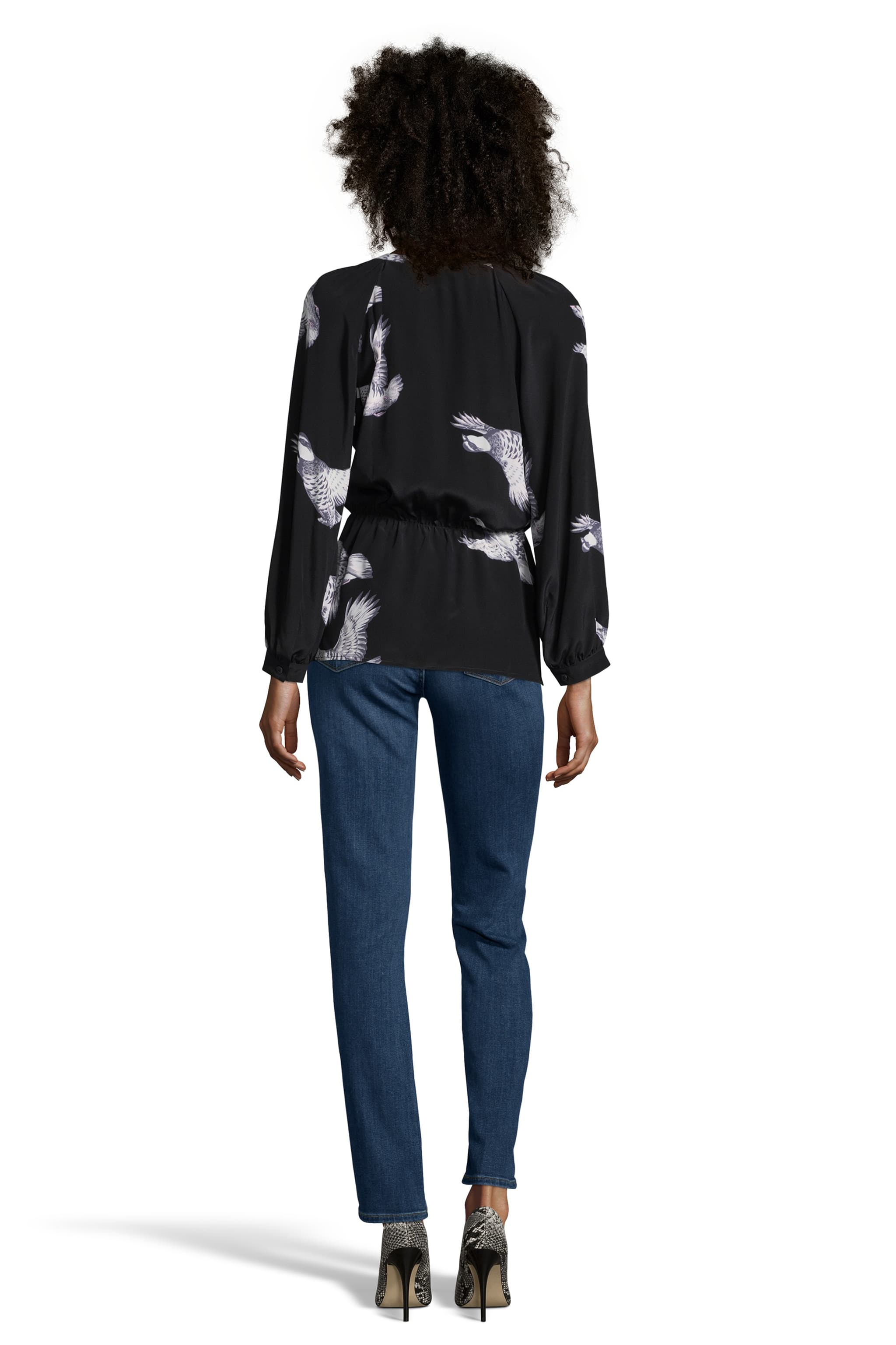 The Tie Neck Party Blouse | Mountain Climbing Birds