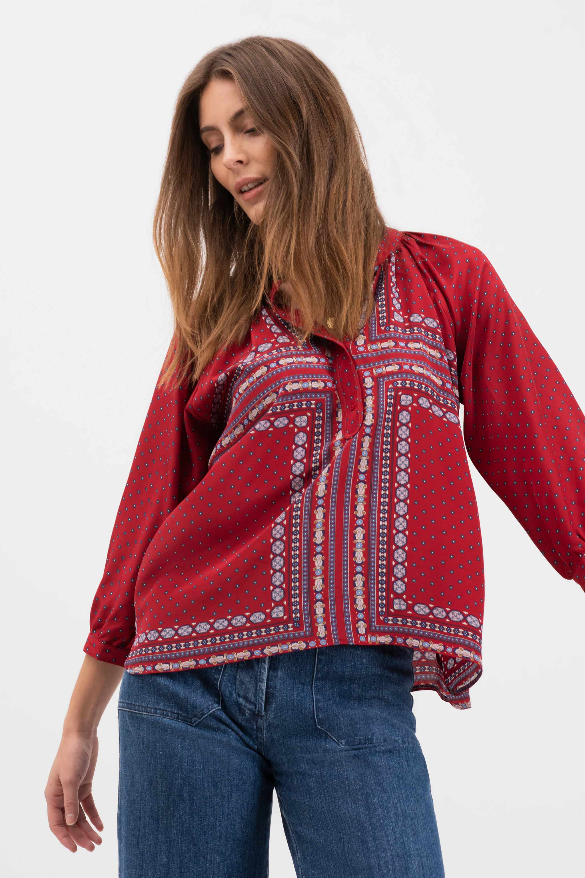 The Combo Classic Blouse | Red Tie Print