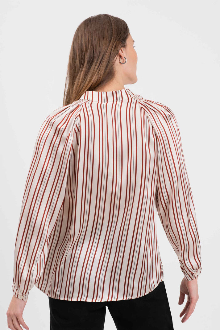 The Long Sleeve Polo Blouse | Satin Stripe