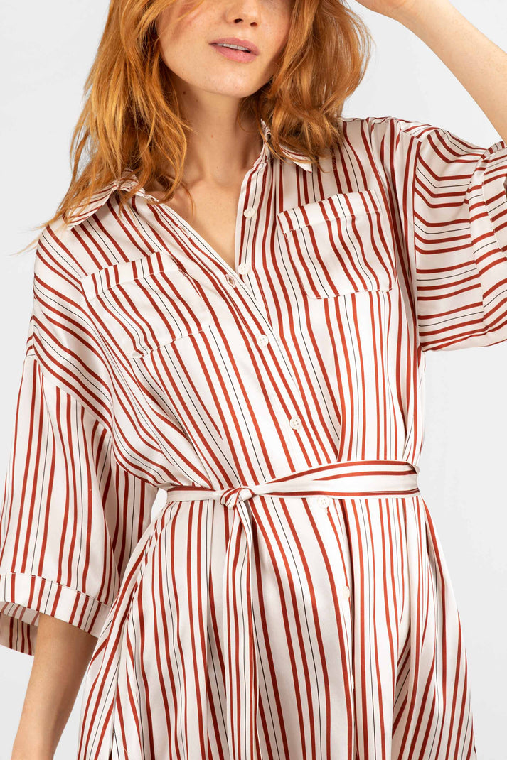 The Safari Shirtdress | Satin Stripe