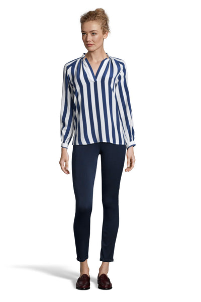 The Long Sleeve Polo Blouse | Navy Stripe