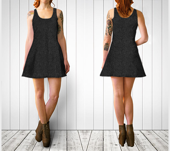 Flare Dress | Intricate 3D Lace-Filigree, Black on Black