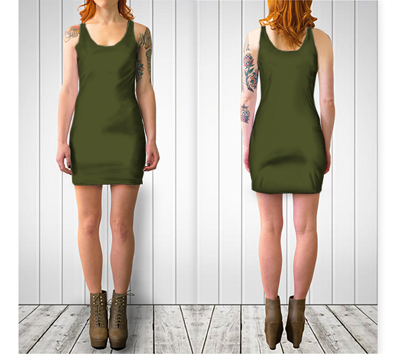 AK02-061-AQ:  BodyCon Dress | Simply Solids™ - AggieLand Army Green
