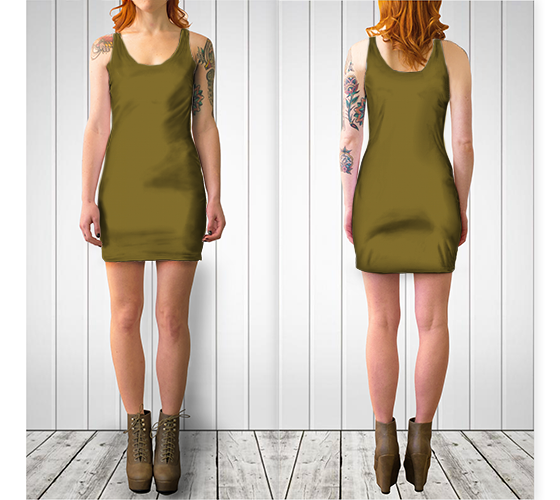 AK02-061-AN:  BodyCon Dress | Simply Solids™ - AggieLand Dark Olive