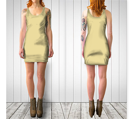 AK02-061-AC:  BodyCon Dress | Simply Solids™ - AggieLand Soft Yellow