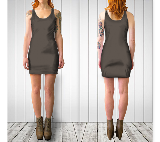 AK02-061-AB:  BodyCon Dress | Simply Solids™ - AggieLand Taupe Gray