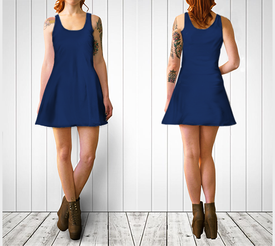 AK02-060-AP:  Flare Dress | Simply Solids™ - AggieLand Blue
