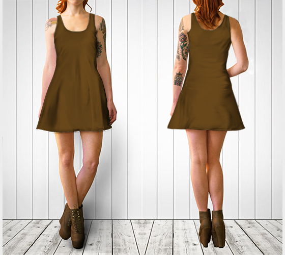 AK02-060-AO:  Flare Dress | Simply Solids™ - AggieLand Cocoa