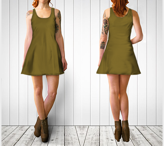 AK02-060-AN:  Flare Dress | Simply Solids™ - AggieLand Dark Olive