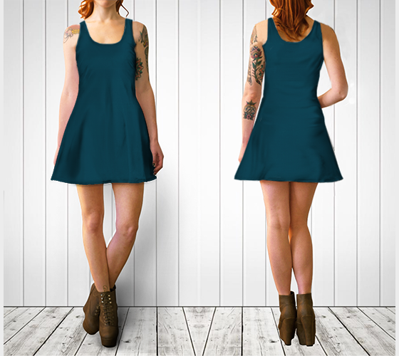 AK02-060-AD:  Flare Dress | Simply Solids™ - AggieLand Slate