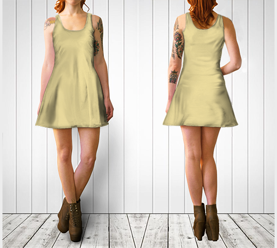 AK02-060-AC:  Flare Dress | Simply Solids™ - AggieLand Soft Yellow