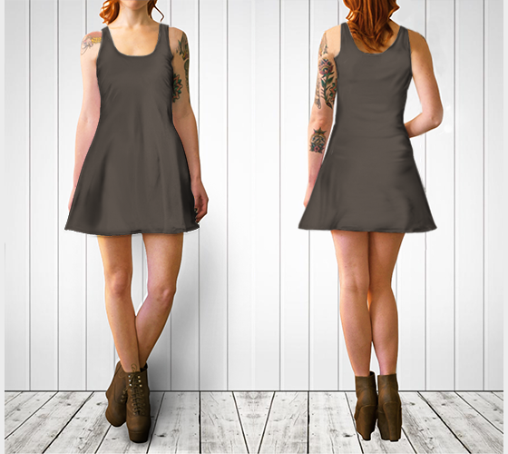 AK02-060-AB:  Flare Dress | Simply Solids™ - AggieLand Taupe Gray