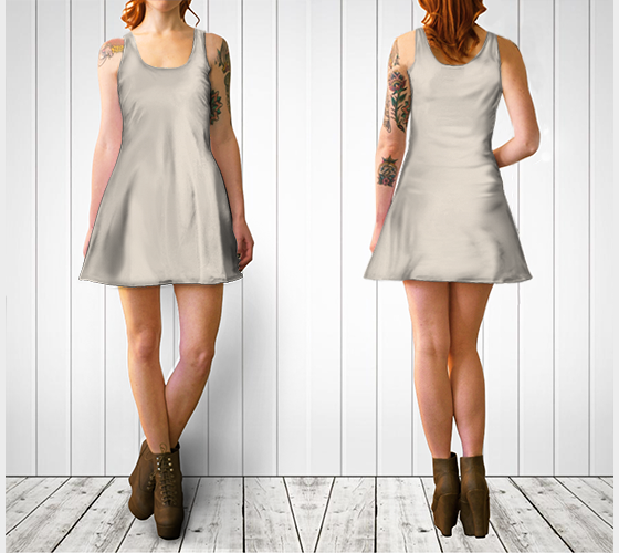 AK02-060-AA:  Flare Dress | Simply Solids™ - AggieLand Winter Tan