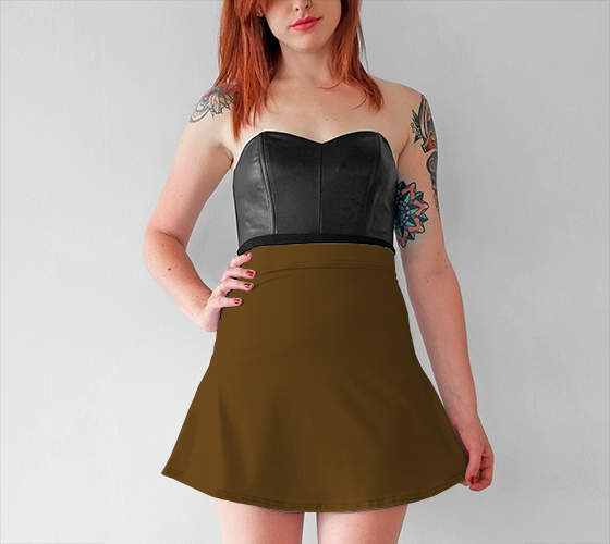 AK02-015-AO:  Flared Skirt | Simply Solids™ - AggieLand Cocoa