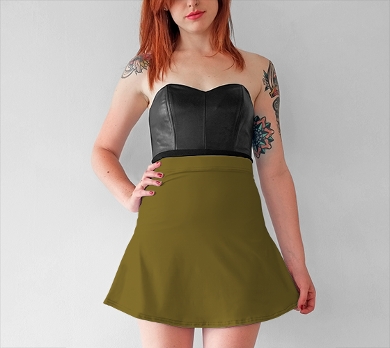 AK02-015-AN:  Flared Skirt | Simply Solids™ - AggieLand Dark Olive